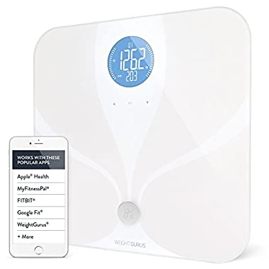 Wifi Smart Connected Body Fat Bathroom Scale by Weight Gurus, Free WiFi Setup Helpdesk, Backlit LCD, ITO Conductive Surface Technology, Accurate Precision Health Alerts, Measurements (WiFi Scale New)