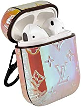 AirPods 1&2 PU Leather Designer Monogram Style Case, Protective Shockproof Case Cover with Carabiner Keychain Compatible with Apple AirPods AirPods2 Charging Case for Men and Women (Magic Pink)