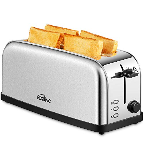 Kealive 4 Slice Toaster, Extra Wide Slot Stainless Steel Toaster with High Lift & 7 Browning Setting, Removable Crumb Tray, 1500W, Silver