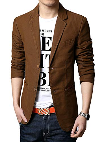 chouyatou Men's Slim 2-Button Single Breasted Cotton Lightweight Blazer Jacket Sport Coat (Small, Brown)