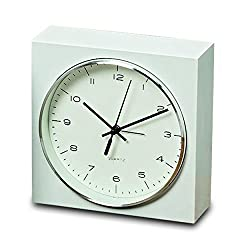 WHW Whole House Worlds Elemental Block Clock with Alarm, Analog Table Top Time Piece, Quartz Movement, White, 6 1/2 Inches Square, Silver Rim, Modern Style, 1 AA Battery (Not Included,)