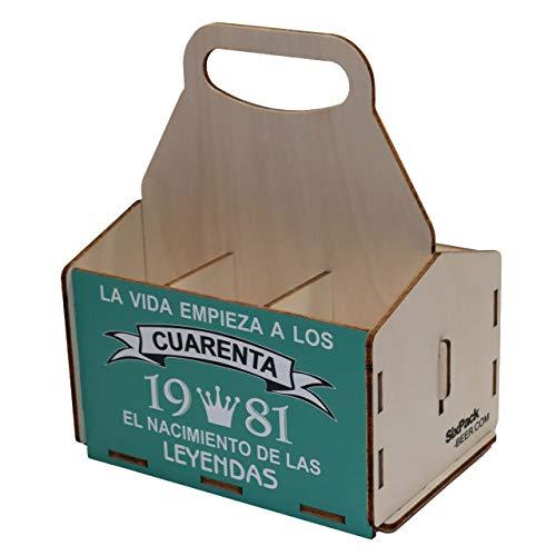 Portacervezas de madera, paquete de seis cervezas, caja portadora de seis, portacervezas de seis, regalo cerveza, cumpleaños 40 años, regalo 40 años, de madera, 40 cumpleaños, cumpleaños hombre, 1981