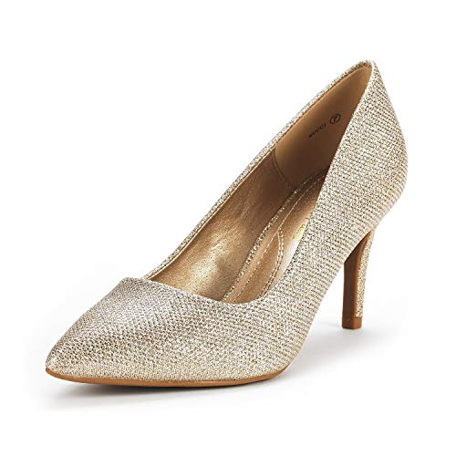 DREAM PAIRS Women's KUCCI Gold Glitter Classic Fashion Pointed Toe High Heel Dress Pumps Shoes Size 7 M US