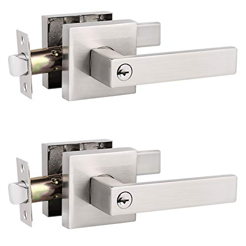 2 Pack Probrico Interior Bedroom Entrance Door Lever Doorknobs Door Lock One Keyway Entry Keyed Alike Same Key Entrance Lockset in Satin Nickel Each with 3 Keys