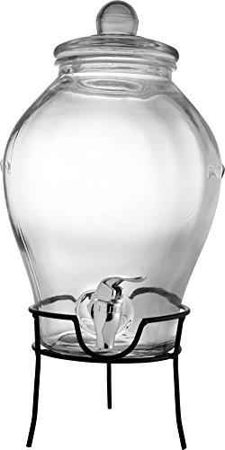 Dispensador de bebidas de vidrio - 6 litros capacidad - dispensador de plástico - con estructura metálica