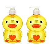 Dispenser automatico di sapone 500 ml distributore di sapone portatile carino anatra rana fragola bottiglia di distribuzione liquida bambini mano disinfettante contenitore viaggi bagno forniture set 2