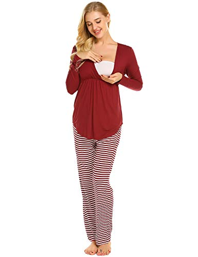 MAXMODA MAXMODA Damen Stillpyjama-Umstandspyjama-Schlafanzug Zweiteilig Hausanzug Pyjamas Kurzen Ärmeln Lang Hosen mit Stillfunktion