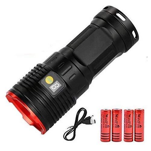 Torcia led ricaricabili ad alta potenza da 12000 lumen, Torcia potente ad alto lumen Torcia tattica militare Super brillante 12 x XML T6 LED con Power Display e 4 batterie