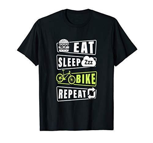Eat Sleep Bike Repeat Mountain Biking Vintage Retro Style T-Shirt