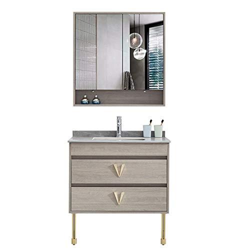 JenLn Armario de baño Combinado de Piso de pie Lavabo Lavabo Lavabo Lavabo Lavabo Fregadero Fregadero de cerámica con gabinete de Medicina. (Color : Gray, Size : 50x90x80cm)