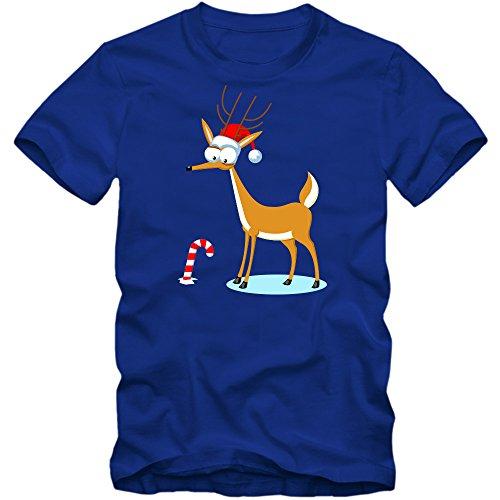Christmas Rentista Camiseta | Rentista Rudolph | Hombre | Feliz Navidad | Zambomba | Invierno, Colour:Blue (Royal Blue);Size:Small