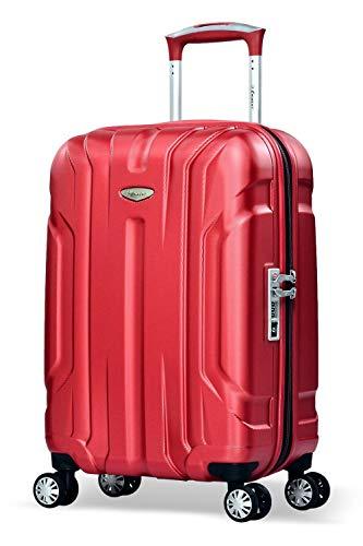 Eminent Bagaglio a mano X-tec 55cm 40L Valigia cabina rigida & leggera Superficie anti-graffio 4 Ruote doppie Lucchetto TSA Rosso