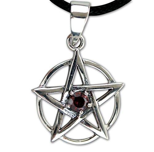 Anhänger Pentagramm 925 Sterling Silber mit rotem Zirkonia inkl Lederband