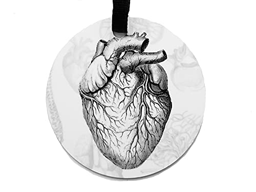 Anatomical Heart Ornament Personalized Goth Home Decor Christmas Halloween Tree Aluminum or Porcelain