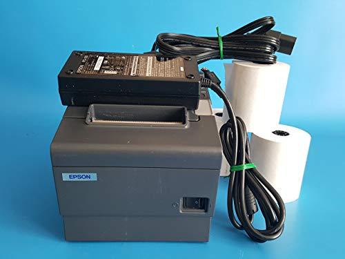 Epson TM-T88IV Model M129H - Dark Gray POS Thermal Receipt Printer USB Port with Epson PS-180 Power Supply & 3 Rolls of Receipt Paper - (Renewed)