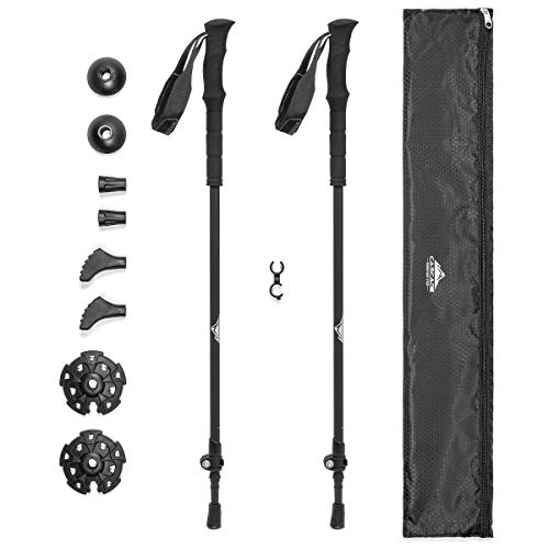 Cascade Mountain Tech Trekking Poles - Ultralight 2 Piece Carbon Fiber Walking or Hiking Sticks with Quick Adjustable Locks (Set of 2), Black