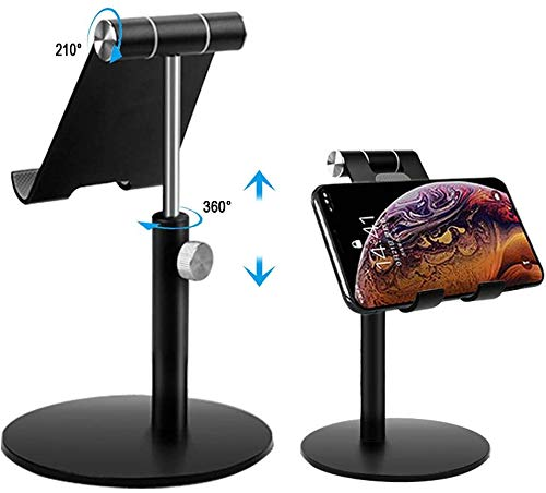 SOECE Tablet Stand,Universal Adjustable Aluminum Desktop Stand,Height&Multi-Angle Adjustable-Tilt 210 Degree,Compatible with New Pad 2018 Pro 9.7/12.9,Air mini 2 3 4,Samsung Tab,other Tablets (Black)