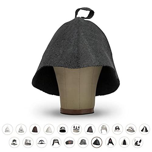 LoFelt® Saunahut - Filzhut für Damen und Herren inkl. Sauna-Ratgeber - Ideales Sauna Zubehör für ein einzigartiges Wellness Erlebnis - Farbe grau - Saunamütze Saunakappe