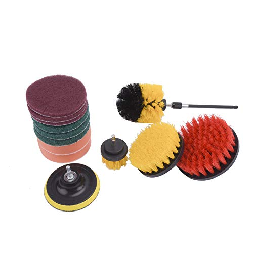 FreeTec Drill Brush 14 stuks boorborstel-opzetset boorborstelkit voor Power Scrubber, reinigingsset voor schrobpads voor tegelverzegelingen, badkuip, wastafels, vloeren, wielen, carpe