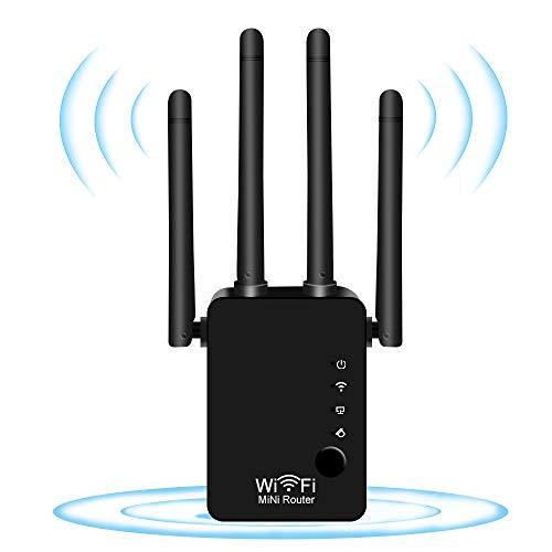 DCUKPST Repetidor WiFi, 300Mbps Amplificador Señal WiFi 2.4 GHz Extensor Repetidor WiFi con Modo Punto de Acceso Repeater Router, Puerto LAN WAN, 4 Antenas Externas, WPS