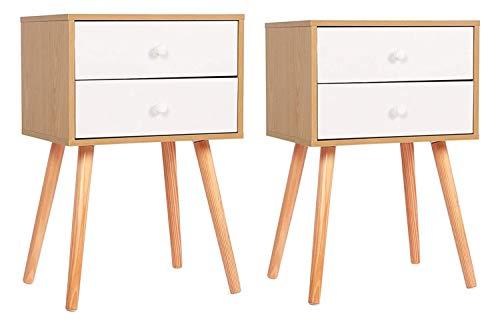 ease Set mit 2 Nachttischen 2-Schubladen Nachttisch modernes skandinavisches Design, L40xB30xH60 cm (2)