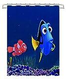 KKASD 3D Duschvorhang Finding Nemo: Dolly, Nemo, Marlene, Movie Poster Badezimmer wasserdicht & schimmelresistent Duschvorhang für Badewanne & Duschkabine 180x180cm