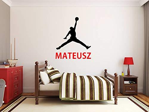Nombre de niño Etiqueta de la pared personalizada Michael Jordan Air Jordan NBA baloncesto Calcomanías de pared Vinilo de niño Cuarto de bebe niños vivero pegatinas Decoración para niños Mural de arte