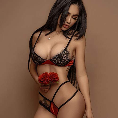 ODJDBDK Frauen Erotische Sexy Spitzen-BHS Und Höschen, Erotische Spitze Transparent Sexy Dessous, Exotische Sexy Dessous,L