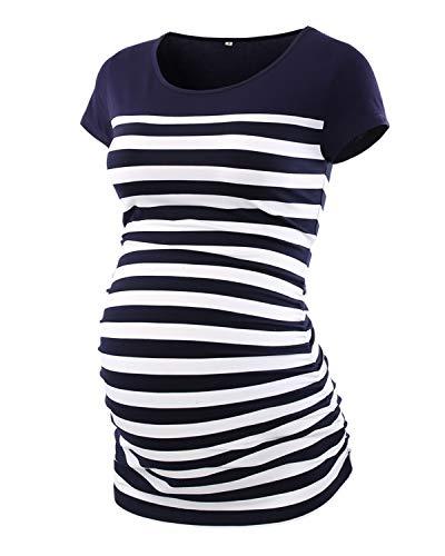 Love2Mi Damen Langarm Striped Schwangere T-Shirt Umstandsshirt Schwangerschaft Rundhals Top,Kurzarm Dunkelblaue,M