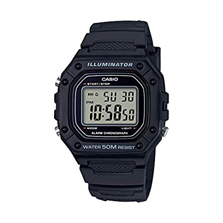 Casio watches Casio Men's Classic Stainless Steel Quartz Watch with Resin Strap, Black, 21.1 (Model: W-218H-1AVCF)