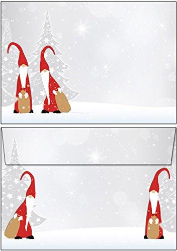 25 Briefumschläge Weihnachten Wichtel DIN C6 ohne Fenster 25 Kuverts - 61075-C6.