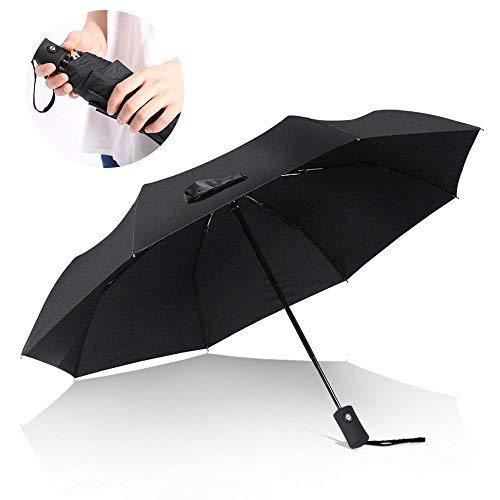 Aodoor Pieghevole Ombrello, Ombrello da Pioggia Automatico, Alta Qualità Automatico Apri e Chiudi, Pieghevole Tascabile Ideale per Viaggio, Classico Nero