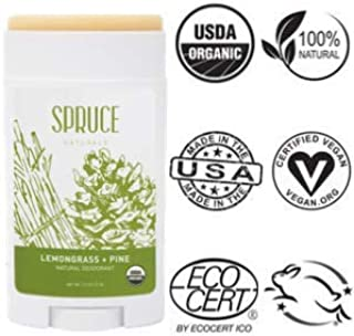 SPRUCE NATURALS: All Natural Deodorant for Women & USDA Organic Deodorant for Men With Coconut Oil, Shea Butter & Organic Essential Oils, Long Lasting Deodorant for Kids, Lemongrass + Pine