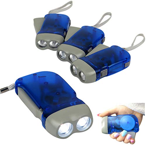Evelots Hand Crank Flashlight-Camping-Home-Car-No Battery-LED Bright Light-Set/4