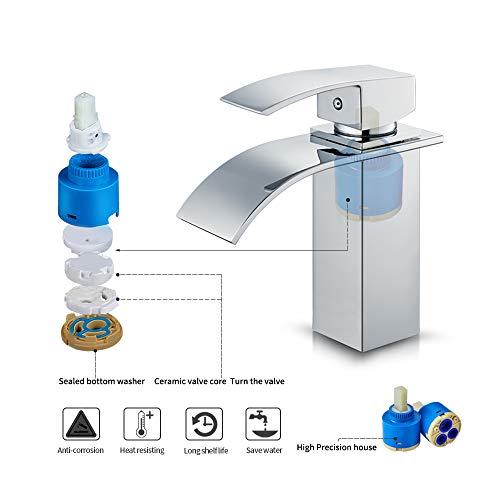 Auralum – Moderne Wasserfallarmatur für Waschbecken, Chrom - 5