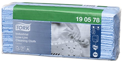 Tork 190578 Fusselarme Industrie Reinigungstücher für W4 Einzeltuch System / 1-lagige Wischtücher in Blau / Premium Qualität / 80 Tücher / 32,4 x 39 cm (B x L)