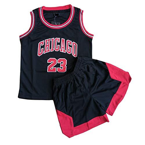 Daoseng Kinder Junge Herren NBA Michael Jordan # 23 Chicago Bulls Retro Basketball Shorts Sommer Trikots Basketballuniform Top & Shorts Basketball Anzug (Schwarz, XL/Erwachsene Höhe 165-170CM)