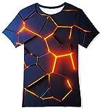 RAISEVERN Garçon T-Shirts, T-Shirts Adolescent 3D Imprimé À Manches Courtes Pizza Chat T-Shirt Pull Tops pour L'été,Pizza Cat,10-12T (M)