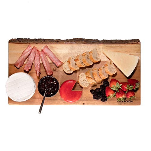 Villa Acacia Raw Wood Slab Serving Platter with Live Edge Bark, Extra Long 22 Inches for Bread Board or Cheese Tray, Single, 22 Inch