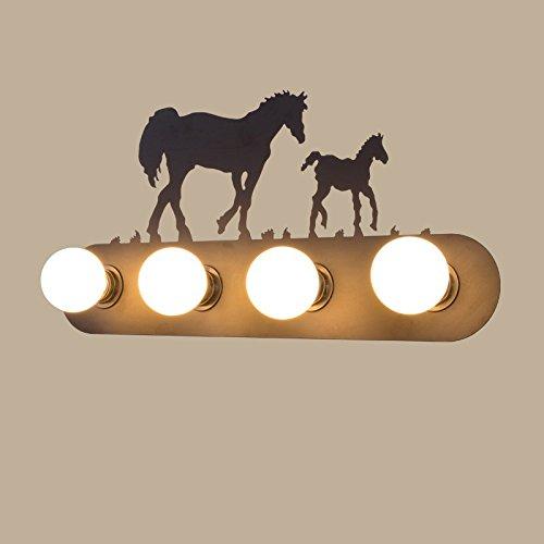 Retro mur industriel lampe lumière, le salon la chambre baignoire personnalité couloir avant miroir lampe avec ampoule, 60×30cm, deux chevaux,5 watt LED ampoule lumière chaude