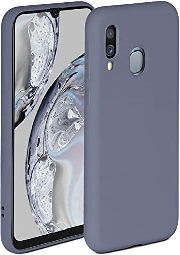 ONEFLOW Soft Hülle kompatibel mit Samsung Galaxy A40 Hülle aus Silikon, erhöhte Kante für Displayschutz, zweilagig, weiche Handyhülle - matt Blau Grau