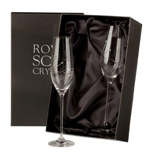2 Flûtes à Champagne Dans Boîte de présentation, en cristal – incrustées avec de vrais cristaux Swarovski – Diamante