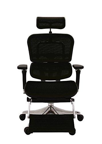 エルゴヒューマン プロ オフィスチェア ブラック オットマン内蔵型 ヘッドレスト付き 3Dファブリックメッシュ ergohuman PRO OTTOMAN EHP-LPL KMD-31