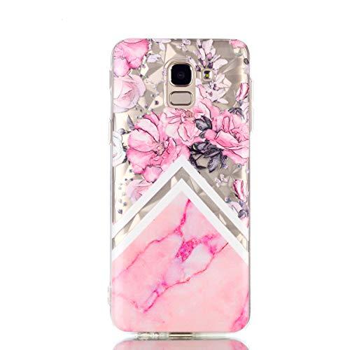 COZY HUT Samsung Galaxy J6 2018 handyhülle, Ultra Dünn Schutzhülle Samsung Galaxy J6 2018 Bumper Case Soft TPU Case Anti Rutsch Silikon Hülle für Samsung Galaxy J6 2018 - Rosa Marmor Blume