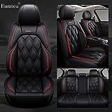 Eunncu Fundas Asientos Coche Universales Accesorios para BMW Serie 6 645Ci E63 630i E63 650i E63 635d E63 640d F13 650i F13 Cuero Impermeable Rojo Negro