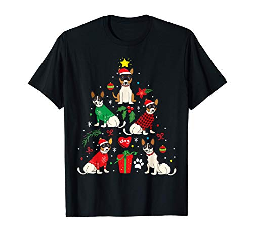 Regalo divertido del perro del árbol de navidad Rat Terrier Camiseta