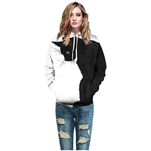 Fenverk Unisex 3D Druck Hoodie Herren Damen Kapuzenpullover Bunt Langarm Coole Sweatshirt Kapuzenjacke mit Taschen Bunte Pullover Kapuzenpulli Kapuzenjacke(Weiß,XL)