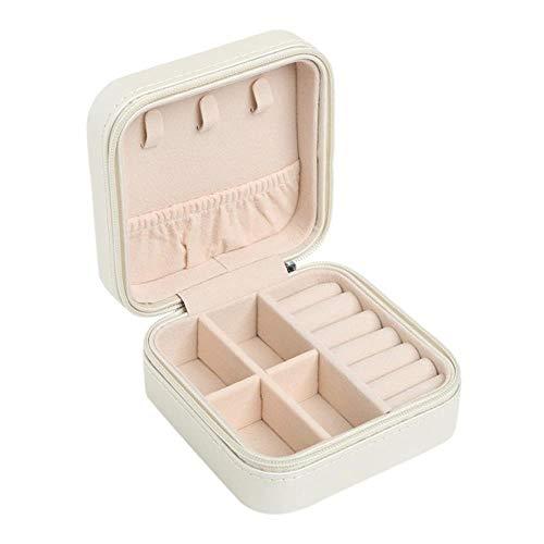 Jelry Organizer Portable Storage Box Ohrring Holder Female Zipper Jelry Travel Case 100 x 100 x 55 mm - Russische Federation, Weiß