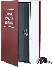 AmazonBasics - Caja de seguridad en forma de libro - Cerradura con llave - Rojo