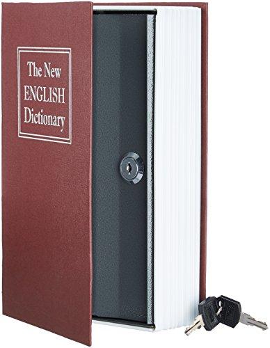 Amazon Basics - Caja de seguridad en forma de libro - Cerradura con llave - Rojo